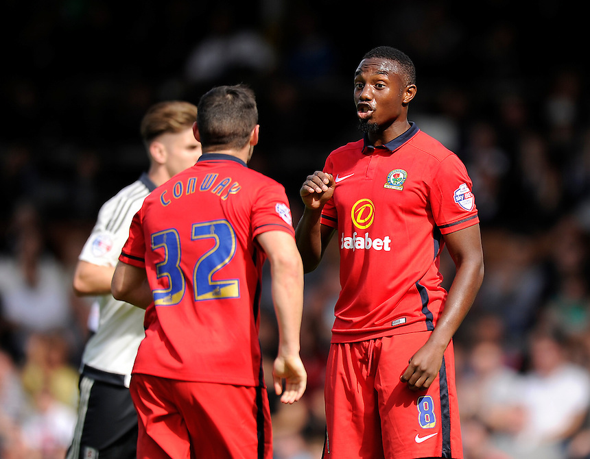 Blackburn Rovers' Bengadli-Fode Koita (right) and Craig Conway<br /> <br /> Photographer Ashley Western/CameraSport<br /> <br /> Football - The Football League Sky Bet Championship - Fulham v Blackburn Rovers - Sunday 13th September 2015 - Craven Cottage<br /> <br /> &copy; CameraSport - 43 Linden Ave. Countesthorpe. Leicester. England. LE8 5PG - Tel: +44 (0) 116 277 4147 - admin@camerasport.com - www.camerasport.com