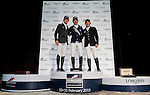 (L-R) Julien Epaillard of France, Scott Brash of United Kingdom and Gerco Schroder of Netherlands at the Longines Speed Challenge during the Longines Hong Kong Masters 2015 at the AsiaWorld Expo on 13 February 2015 in Hong Kong, China. Photo by Xaume OIleros / Power Sport Images
