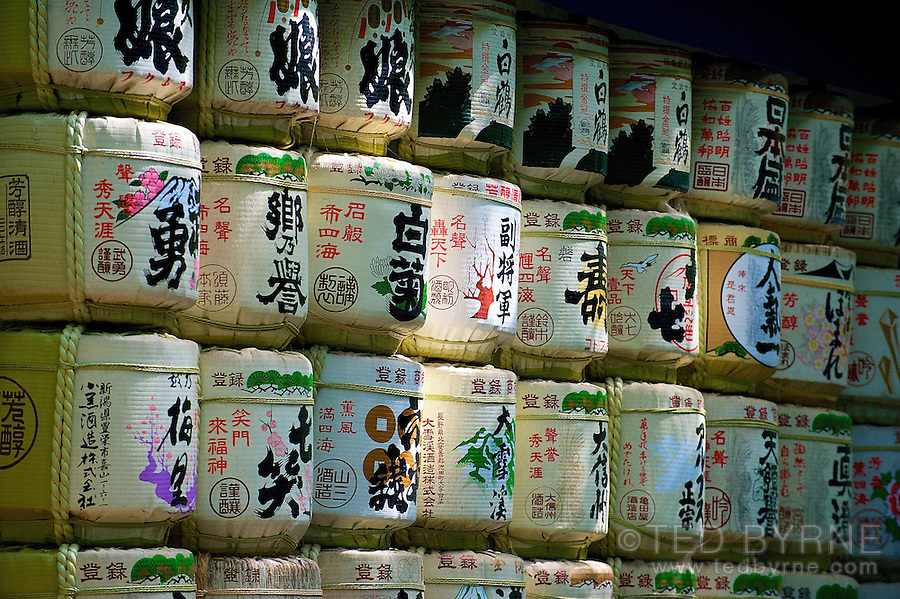 Wall of sake barrels at the Meiji Shrine in Tokyo, Japan
