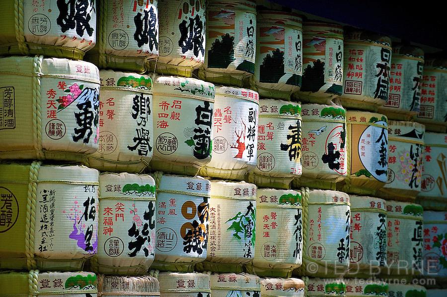 Wall of sake barrels at the Meiji Shrine in Tokyo, Japan