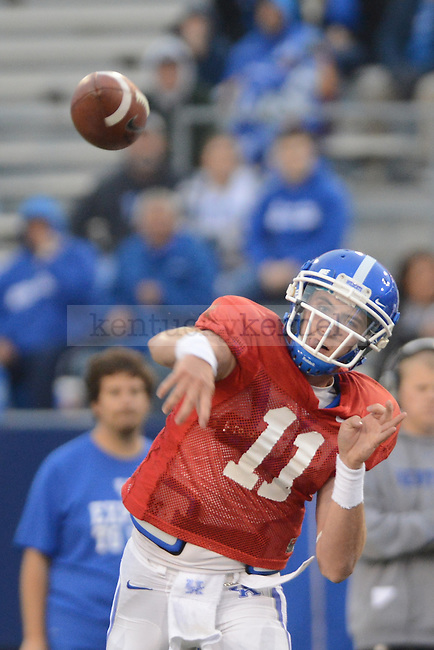 QB Maxwell Smith completes a pass during the University of Kentucky spring football scrimmage at Commonwealth Stadium in Lexington, Ky., on 4/21/12.  Photo by Mike Weaver | Staff
