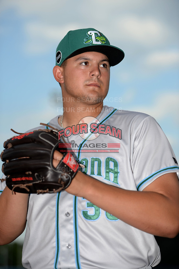Daytona Tortugas pitcher Sal Romano (30) poses for a photo before a game against the Tampa Yankees on April 24, 2015 at George M. Steinbrenner Field in Tampa, Florida.  Tampa defeated Daytona 12-7.  (Mike Janes/Four Seam Images)