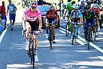 Race leader Tom Dumoulin (NED) Team Sunweb attacks Nairo Quintana (COL) Movistar and Vincenzo Nibali (ITA) Bahrain-Merida near the end of Stage 18 of the 100th edition of the Giro d'Italia 2017, running 137km from Moena to Ortisei/St. Ulrich, Italy. 25th May 2017.<br /> Picture: LaPresse/Fabio Ferrari | Cyclefile<br /> <br /> <br /> All photos usage must carry mandatory copyright credit (&copy; Cyclefile | LaPresse/Fabio Ferrari)