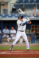 Charlotte Stone Crabs shortstop Tristan Gray (9) at bat during a game against the Bradenton Marauders on August 6, 2018 at Charlotte Sports Park in Port Charlotte, Florida.  Charlotte defeated Bradenton 2-1.  (Mike Janes/Four Seam Images)