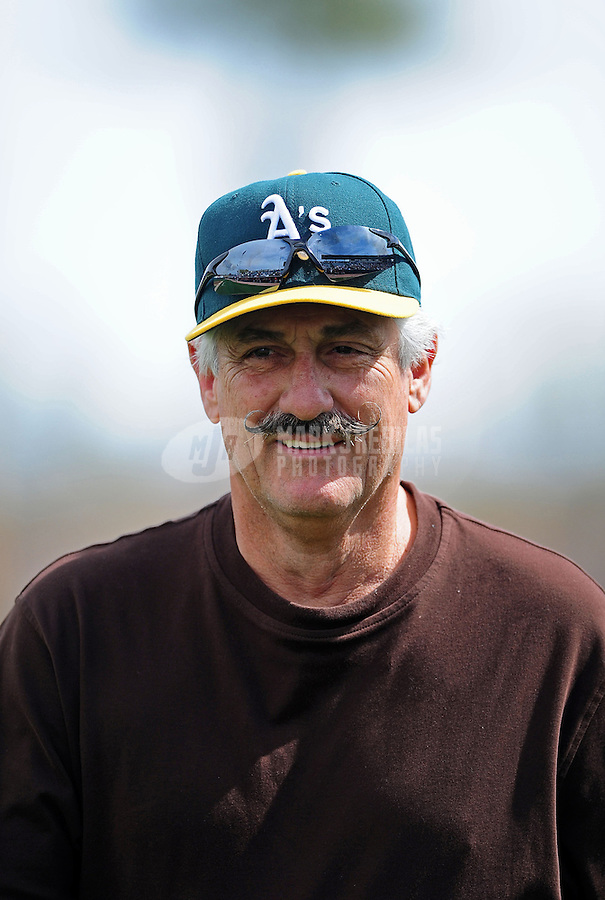 Mar. 4, 2012; Phoenix, AZ, USA; Oakland Athletics former pitcher Rollie Fingers in attendance of the game against the Los Angeles Angels during a spring training game at Phoenix Municipal Stadium.  Mandatory Credit: Mark J. Rebilas-
