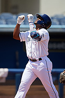 Charlotte Stone Crabs Moises Gomez (21) celebrates a home run during a Florida State League game against the Dunedin Blue Jays on April 17, 2019 at Charlotte Sports Park in Port Charlotte, Florida.  Charlotte defeated Dunedin 4-3.  (Mike Janes/Four Seam Images)
