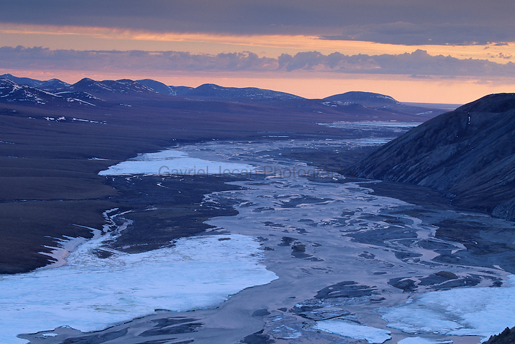 Landscape view of river and landscape in the Arctic National  Wildlife Refuge..