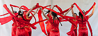 Girls performing Chinese Red Ribbon Dance, Northwest Folklife Festival 2016, Seattle Center, Washington, USA.
