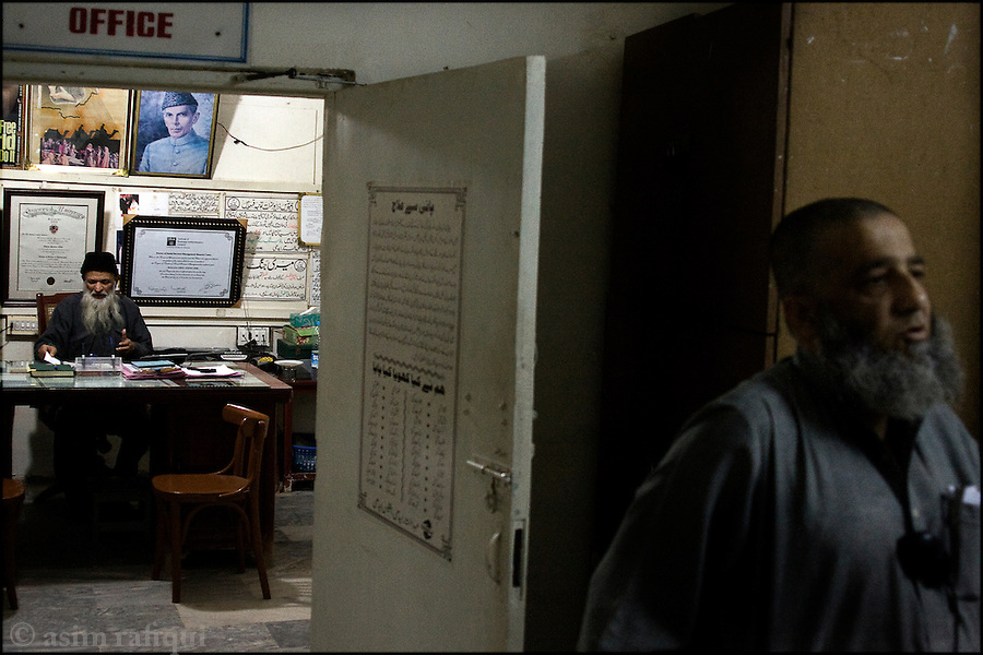 abdul sattar edhi in his boultan market, karachi office - the same location where he first began his work