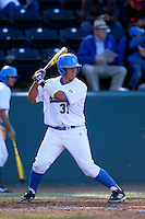 Darrell Miller Jr. #31 of the UCLA Bruins bats against the Oklahoma Sooners at Jackie Robinson Stadium on March 9, 2013 in Los Angeles, California. (Larry Goren/Four Seam Images)