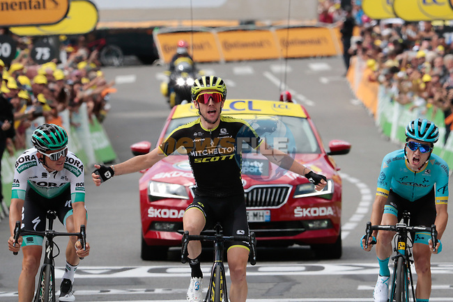 Simon Yates (GBR) Mitchelton-Scott wins Stage 12 of the 2019 Tour de France running 209.5km from Toulouse to Bagneres-de-Bigorre, France. 18th July 2019.<br /> Picture: ASO/Colin Flockton | Cyclefile<br /> All photos usage must carry mandatory copyright credit (© Cyclefile | Colin Flockton)