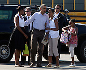 United States President Barack Obama, flanked by his wife Michelle and daughter Malia right, and Sasha, far right, get ready to board Marine One helicopter on Martha's Vineyard, Massachusetts Sunday, August 29, 2010. The First Family completed their 10-day vacation on Martha's Vineyard and were flying to Cape Cod to board Air Force One  for New Orleans where the President is giving a speech today on the fifth year anniversary of Hurricane Katrina. .Credit: Vincent DeWitt - Pool via CNP