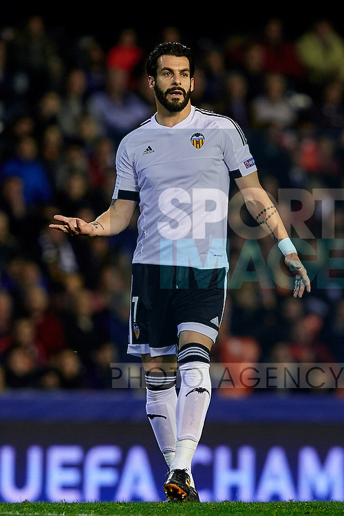 Alvaro Negredo of Valencia CF reacts - UEFA Champions League Group H - Valencia CF vs Olympique Lyonnais - Mestalla Stadium - Valencia- Spain - 09th December 2015 - Pic David Aliaga/Sportimage