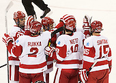 Sean Escobedo (BU - 21), Ryan Ruikka (BU - 2), Evan Rodrigues (BU - 17), Matt Nieto (BU - 19), Ryan Santana (BU - 15) - The Boston University Terriers defeated the visiting Northeastern University Huskies 5-0 on senior night Saturday, March 9, 2013, at Agganis Arena in Boston, Massachusetts.