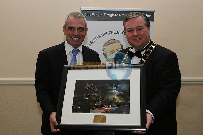 Mayor of Drogheda Paul Bell presents Photo to European Ryder Cup Captain Paul McGinley at the Des Smyth Foundation Ball in the Boyne Valley Hotel, Drogheda...(Photo credit should read Jenny Matthews/NEWSFILE)...