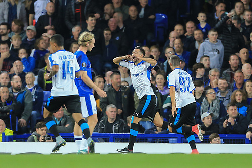 28th September 2017, Goodison Park, Liverpool, England; UEFA Europa League group stage, Everton versus Apollon Limassol; Adrián Sardinero of Apollon Limassol celebrates his goal in the 12th minute