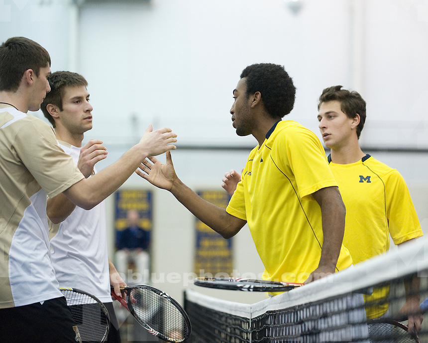 The University of Michigan men's tennis team beat Western Michigan University 7-0 at the Varsity Tennis Center in Ann Arbor, Mich., on January 14, 2012.