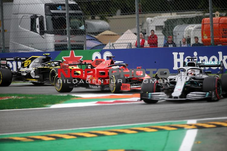 06.09.2019, Autodromo Nazionale di Monza, Monza, FORMULA 1 GRAN PREMIO HEINEKEN D'ITALIA 2019<br />,im Bild<br />Max Verstappen (NEL#33), Aston Martin Red Bull Racing, Sebastian Vettel (GER#5), Scuderia Ferrari Mission Winnow, Nico Hülkenberg (GER#27), Renault F1 Team<br /> <br /> Foto © nordphoto / Bratic