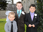 Sam Rice and Kyle Callaghan who received First Holy Communion in St. Cianan's church Duleek pictured Kyle's brother Glen. Photo: Colin Bell/pressphotos.ie