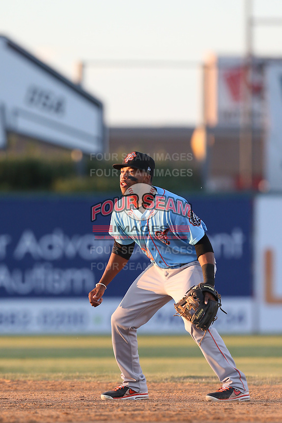 Sherman Johnson #10 of the Inland Empire 66ers during a game against the Lancaster JetHawks at The Hanger on May 26, 2014 in Lancaster, California. Lancaster defeated Inland Empire, 6-5. (Larry Goren/Four Seam Images)