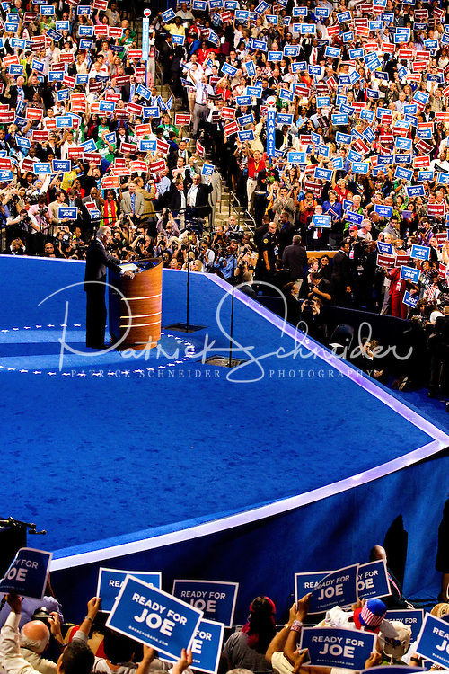 Vice President Joe Biden addresses the 2012 Democratic National Convention at the Time Warner Center on September 6, 2012 in Charlotte, North Carolina.