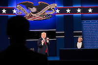 ST LOUIS, MO - OCTOBER 09: Republican presidential nominee Donald Trump (L) speaks as Democratic presidential nominee former Secretary of State Hillary Clinton listens during the town hall debate at Washington University on October 9, 2016 in St Louis, Missouri. This is the second of three presidential debates scheduled prior to the November 8th election.