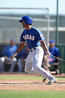 Texas Rangers outfielder Yimmelvyn Alonzo (68) during an Instructional League game against the Cincinnati Reds on October 3, 2014 at Surprise Stadium Training Complex in Surprise, Arizona.  (Mike Janes/Four Seam Images)