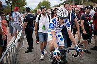 Polka Dot Jersey / KOM leader Geoffrey Bouchard (FRA/AG2R La Mondiale) at the finish<br /> <br /> Stage 18: Colmenar Viejo to Becerril de la Sierra (178km)<br /> La Vuelta 2019<br /> <br /> ©kramon