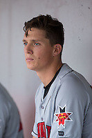 Indianapolis Indians starting pitcher Tyler Glasnow (26) sits in the dugout during the game against the Charlotte Knights at BB&T BallPark on June 17, 2016 in Charlotte, North Carolina.  The Knights defeated the Indians 4-0.  (Brian Westerholt/Four Seam Images)