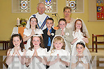 Pupils from Asdee National School who were confirmed at St Marys Church, Asdee, on Saturday morning, with their teacher Michelle Sheehy and Fr Michael Maher. Pictured are Ciara Anderson, Michelle Dineen, Niamh Healy, Cara Henry, Molly Carmody, Seamus OSullivan, Damien Dalton and Saoirse Doyle..