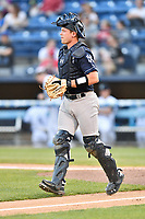 Charleston RiverDogs catcher Josh Breaux (34) during a game against the Asheville Tourists at McCormick Field on April 10, 2019 in Asheville, North Carolina. The  RiverDogs defeated the Tourists 5-3. (Tony Farlow/Four Seam Images)