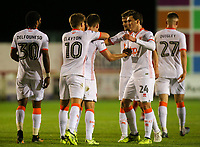 Blackpool's Daniel Philliskirk celebrates scoring his side's first goal with teammates<br /> <br /> Photographer Alex Dodd/CameraSport<br /> <br /> EFL Checkatrade Trophy - Northern Section Group B - Accrington Stanley v Blackpool - Tuesday 3rd October 2017 - Crown Ground - Accrington<br />  <br /> World Copyright &copy; 2018 CameraSport. All rights reserved. 43 Linden Ave. Countesthorpe. Leicester. England. LE8 5PG - Tel: +44 (0) 116 277 4147 - admin@camerasport.com - www.camerasport.com