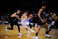 Korea's Junyong Choi drives past New Zealand's Tom Abercrombie during the FIBA World Cup qualifier between the New Zealand Tall Blacks and South Korea at TSB Bank Arena in Wellington, New Zealand on Thursday, 23 November 2017. Photo: Dave Lintott / lintottphoto.co.nz