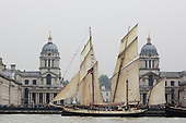 London, UK. 6 September 2014. Gaff ketch moored at Maritime Greenwich in front of the Royal Naval College Greenwich. Tall Ships sailing on the River Thames on the second day of the Royal Greenwich Tall Ships Festival 2014.