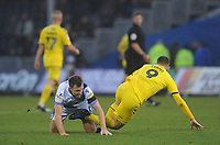 Bristol Rovers' Tony Craig tangles with Fleetwood Town's Ched Evans off the ball<br /> <br /> Photographer Kevin Barnes/CameraSport<br /> <br /> The EFL Sky Bet League One - Bristol Rovers v Fleetwood Town - Saturday 22nd December 2018 - Memorial Stadium - Bristol<br /> <br /> World Copyright &copy; 2018 CameraSport. All rights reserved. 43 Linden Ave. Countesthorpe. Leicester. England. LE8 5PG - Tel: +44 (0) 116 277 4147 - admin@camerasport.com - www.camerasport.com