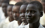 Girls line up for morning assembly at the Loreto Girls Secondary School in Rumbek, South Sudan. The school, run by the Institute for the Blessed Virgin Mary--the Loreto Sisters--of Ireland, educates young women from throughout the war-torn country.