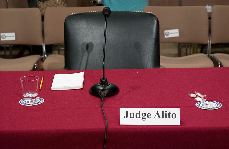 01/10/06.ALITO HEARINGS--Witness chair for Samuel A. Alito Jr., during a break in his Senate Judiciary hearing on his nomination of to be an associate justice of the U.S. Supreme Court. CONGRESSIONAL QUARTERLY PHOTO BY SCOTT J. FERRELL