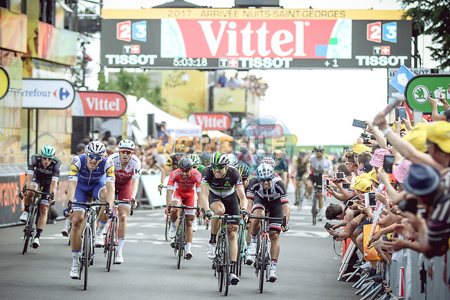 Marcel Kittel (GER) Quick-Step Floors wins Stage 7 of the 104th edition of the Tour de France 2017, running 213.5km from Troyes to Nuits-Saint-Georges, France. 7th July 2017.<br /> Picture: ASO/Thomas Maheux | Cyclefile<br /> <br /> <br /> All photos usage must carry mandatory copyright credit (&copy; Cyclefile | ASO/Thomas Maheux)
