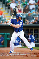 Oklahoma City Dodgers outfielder Kyle Jensen (22) at bat during a game against the Fresno Grizzles on June 1, 2015 at Chickasaw Bricktown Ballpark in Oklahoma City, Oklahoma.  Fresno defeated Oklahoma City 14-1.  (Mike Janes/Four Seam Images)