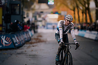 Mathieu van der Poel (NED/Corendon-Circus) crossing the finish line solo &gt; once again proving to be the dominant rider of the pack<br /> <br /> men's race<br /> Soudal Jaarmarktcross Niel 2018 (BEL)