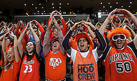 Virginia fans cheer during an ACC basketball game against Clemson Tuesday Jan. 19, 2016, in Charlottesville, Va. (Photo/Andrew Shurtleff)