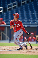 Washington Nationals KJ Harrison (4) hits a home run during an Instructional League game against the Miami Marlins on September 26, 2019 at FITTEAM Ballpark of The Palm Beaches in Palm Beach, Florida.  (Mike Janes/Four Seam Images)