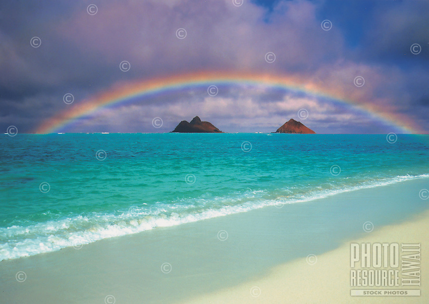 Rainbow over beautiful Lanikai beach, near Kailua, on the windward side of Oahu