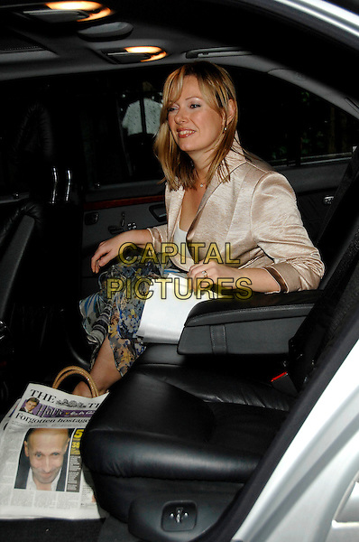 FFION HAGUE.David Frost's Summer Garden Party.5th July London, England.sitting in car full length beige jacket.CAP/PL.©Phil Loftus/Capital Pictures