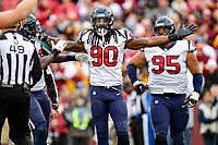 Landover, MD - November 18, 2018: Houston Texans outside linebacker Jadeveon Clowney (90) celebrates a sack during second half action of game between the Houston Texans and the Washington Redskins at FedEx Field in Landover, MD. The Texans defeated the Redskins 23-21. (Photo by Phillip Peters/Media Images International)