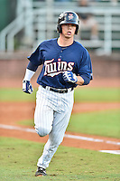 Elizabethton Twins catcher Ben Rortvedt (33) runs to first base during game against the Burlington Royals at Joe O'Brien Field on August 24, 2016 in Elizabethton, Tennessee. The Royals defeated the Twins 8-3. (Tony Farlow/Four Seam Images)