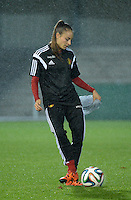 20151130 - LEUVEN ,  BELGIUM : Belgian Tessa Wullaert pictured during the female soccer game between the Belgian Red Flames and Serbia , the third game in the qualification for the European Championship in The Netherlands 2017  , Monday 30 November 2015 at Stadion Den Dreef  in Leuven , Belgium. PHOTO DIRK VUYLSTEKE
