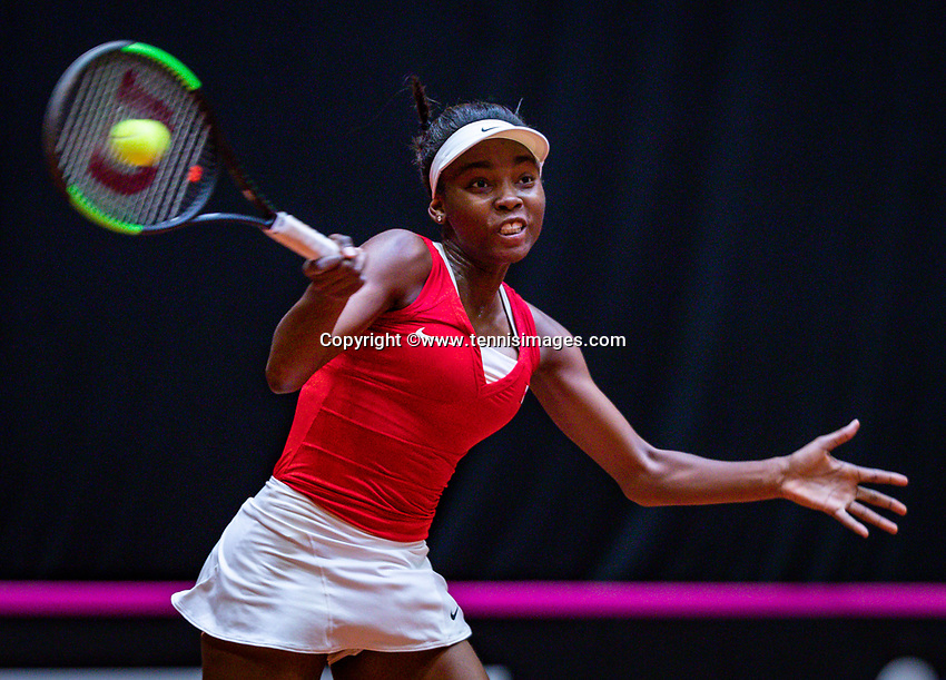 Den Bosch, The Netherlands, Februari 9, 2019,  Maaspoort , FedCup  Netherlands - Canada, second match : Francoise Abanda (CAN)<br /> Photo: Tennisimages/Henk Koster