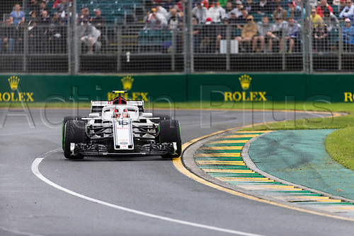 24th March 2018, Melbourne Grand Prix Circuit, Melbourne, Australia; Melbourne Formula One Grand Prix, qualifying; The number 16 Alfa Romeo Sauber driven by Charles Leclerc