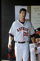 Buies Creek Astros outfielder Kyle Tucker (30) in the dugout during a game against the Winston-Salem Dash at Jim Perry Stadium on the campus of Campbell University on April 9, 2017 in Buies Creek, North Carolina. Buies Creek defeated Winston-Salem 2-0. (Robert Gurganus/Four Seam Images)